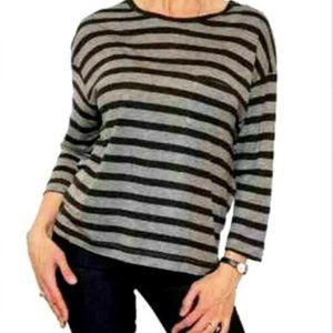 Vince. Small Blouse Striped Black Gray Pocket S